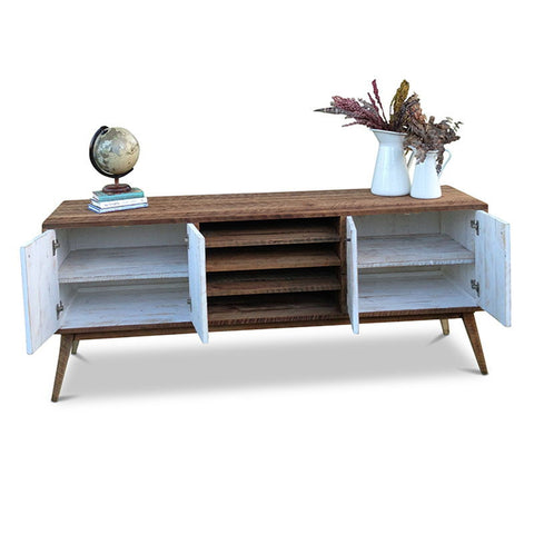 """Once Upon A Queenslander"" Eco Recycled Entertainment Unit With Shelves in White"