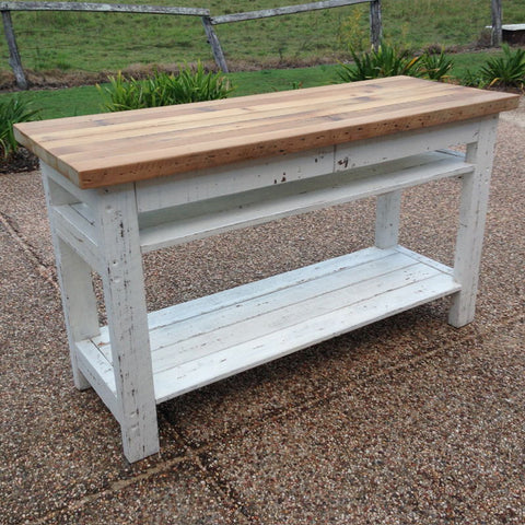 Industrial Recycled Retro High Bench Table in White & Timber with Drawers & Shelves