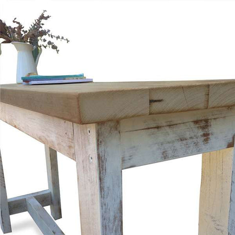 """Once Upon A Queenslander"" Eco Recycled High Bench Table in White & Natural with Wheels (SUPERSIZED)"
