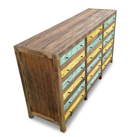 """Once Upon A Queenslander"" Industrial Recycled Shabby Chic Cabinet / Sideboard / Buffet / Dresser in Checkered Teal Green & Lemon Meringue"