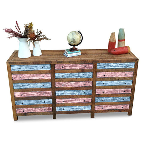 Retro Modern Mid Century Cabinet / Sideboard / Buffet / Dresser in Checkered Powder Blue & Blush Pink