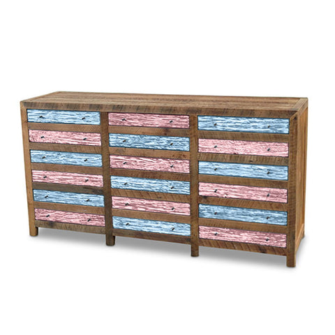 """Once Upon A Queenslander"" Industrial Recycled Shabby Chic Cabinet / Sideboard / Buffet / Dresser in Checkered Powder Blue & Blush Pink"