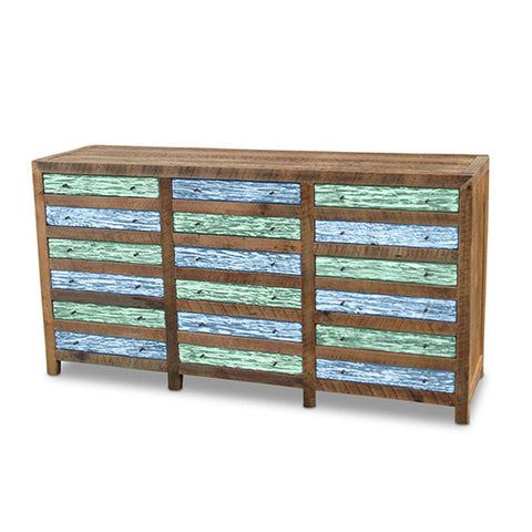 """Once Upon A Queenslander"" Industrial Recycled Shabby Chic Cabinet / Sideboard / Buffet / Dresser in Checkered Teal Green & Powder Blue"