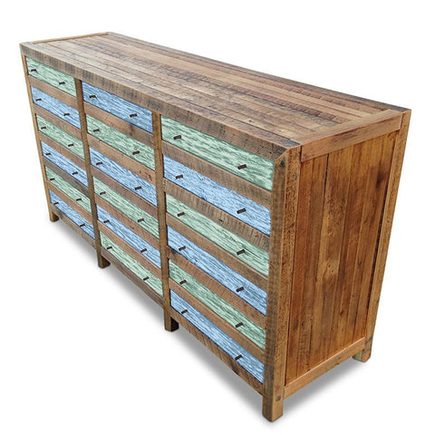 Retro Modern Mid Century Cabinet / Sideboard / Buffet / Dresser in Checkered Teal Green & Powder Blue