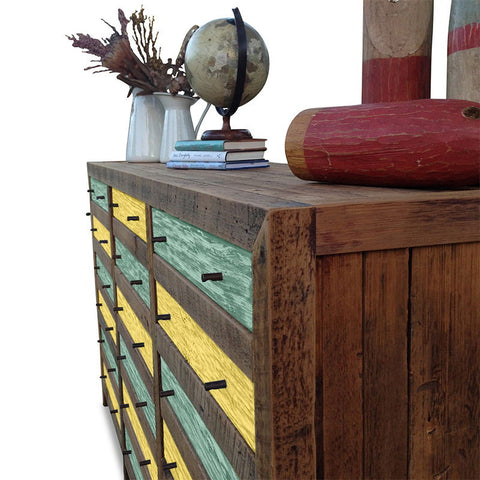 Retro Modern Mid Century Cabinet / Sideboard / Buffet / Dresser in Checkered Teal Green & Lemon Meringue