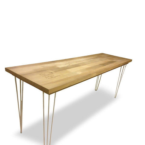 Industrial Recycled Modern Laser Engraved Branded High Bench Dining Table & Kitchen Island in Natural with White Hairpin Legs