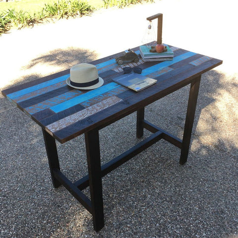 Industrial Recycled Retro High Bench Table In Walnut With Patchwork Pattern