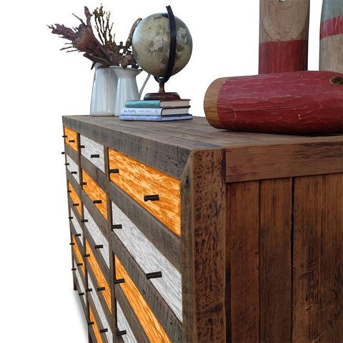 Retro Modern Mid Century Cabinet / Sideboard / Buffet / Dresser in Checkered Orange & White