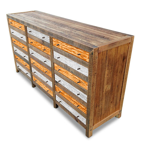 """Once Upon A Queenslander"" Industrial Recycled Shabby Chic Cabinet / Sideboard / Buffet / Dresser in Checkered Orange & White"