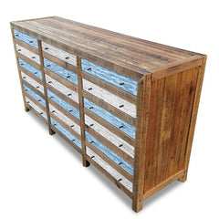Retro Modern Mid Century Cabinet / Sideboard / Buffet / Dresser in Checkered Powder Blue & White