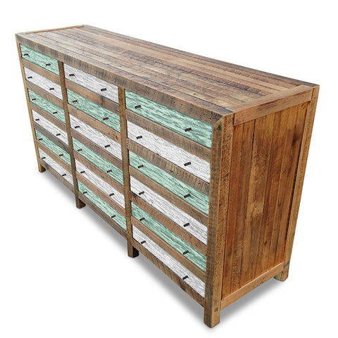 """Once Upon A Queenslander"" Industrial Recycled Shabby Chic Cabinet / Sideboard / Buffet / Dresser in Checkered Teal Green & White"