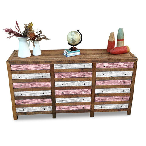 """Once Upon A Queenslander"" Industrial Recycled Shabby Chic Cabinet / Sideboard / Buffet / Dresser in Checkered Blush Pink & White"