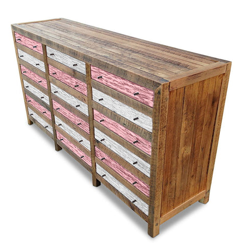 Retro Modern Mid Century Cabinet / Sideboard / Buffet / Dresser in Checkered Blush Pink & White
