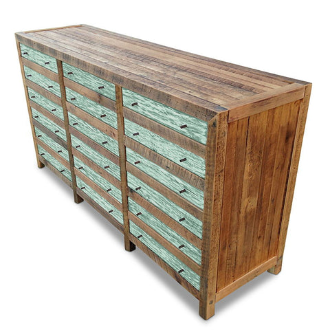 """Once Upon A Queenslander"" Industrial Recycled Shabby Chic Cabinet / Sideboard / Buffet / Dresser in Teal Green"