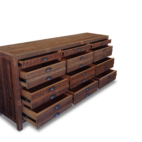 Minimalist Modern Retro Timber Sideboard Buffet Dresser in Recycled Timber - Walnut