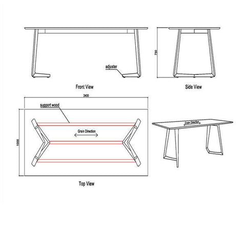 Modern Danish Large Angle Rectangle Dining Table