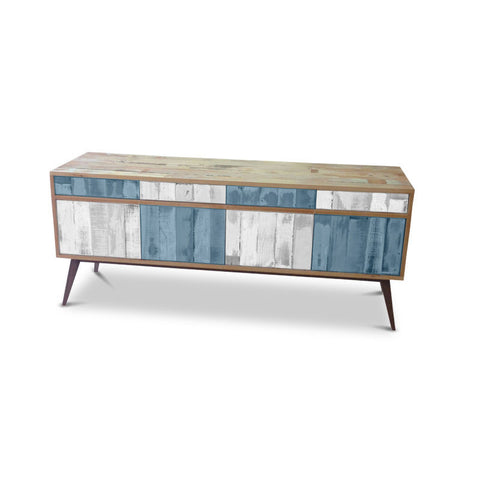 Modern Mid Century Retro Checkered Powder Blue & White Sideboard / Buffet / Entertainment Unit