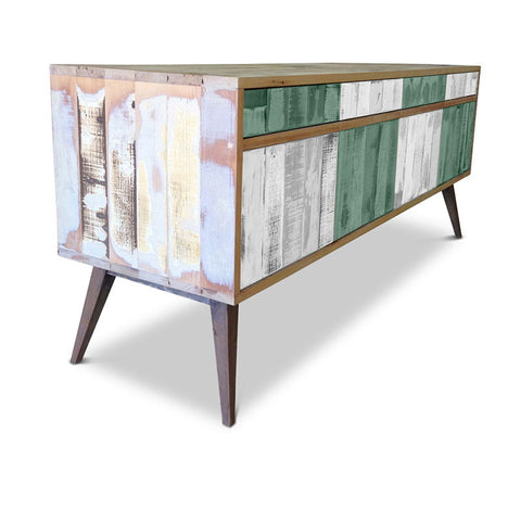 Modern Mid Century Retro Checkered Teal Green & White Sideboard / Buffet / Entertainment Unit