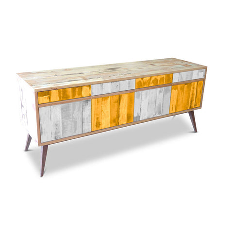 Modern Mid Century Retro Checkered Orange & White Sideboard / Buffet / Entertainment Unit