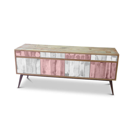 Modern Mid Century Retro Checkered Blush Pink & White Sideboard / Buffet / Entertainment Unit