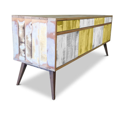 Modern Mid Century Retro Checkered Lemon Meringue & White Sideboard / Buffet / Entertainment Unit