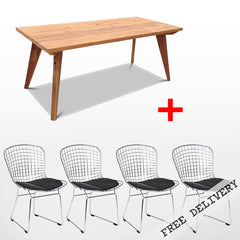 Modern Mid Century Retro Recycled 5 Piece Dining Suite - Small 1.5m Dining Table in Natural & Black Bertoia Replica Metal Chair