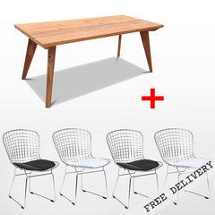 Modern Mid Century Retro Recycled 5 Piece Dining Suite - Small 1.5m Dining Table in Natural and Black & White Bertoia Replica Metal Chair