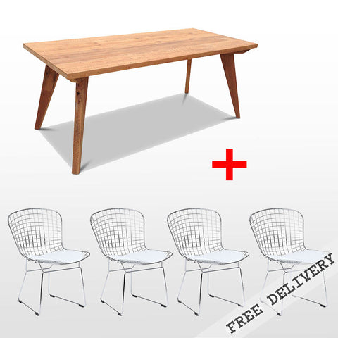 Modern Mid Century Retro Recycled 5 Piece Dining Suite - Small 1.5m Dining Table in Natural & White Bertoia Replica Metal Chair
