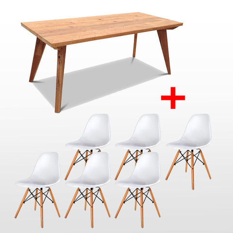 Modern Mid Century Retro Recycled 7 Piece Dining Suite - Large Size Dining Table in Natural & White Replica Eames Dining Chair
