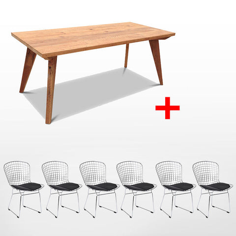 Modern Mid Century Retro Recycled 7 Piece Dining Suite - Large 2m Dining Table in Natural & Black Bertoia Replica Metal Chair