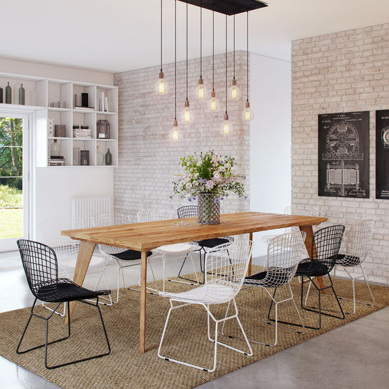 Modern Mid Century Recycled Retro X Large Wood Dining
