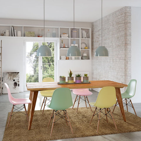 Modern Mid Century Retro Recycled 7 Piece Dining Suite / Dining Set - Large 2m Dining Table in Natural and Dining Chairs