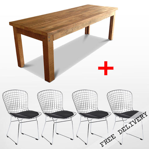 Modern Rustic Warehouse Eco Recycled 5 Piece Dining Suite in Natural With Black Bertoia Replica Side Chair