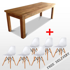 """Once Upon A Queenslander"" 7 Piece Dining Suite - Eco Recycled Dining Table in Natural and White Replica Eames Dining Chair"