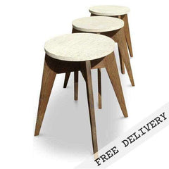"""Once Upon A Queenslander"" Eco Recycled Cafe Style Stool - WHITE EDITION"