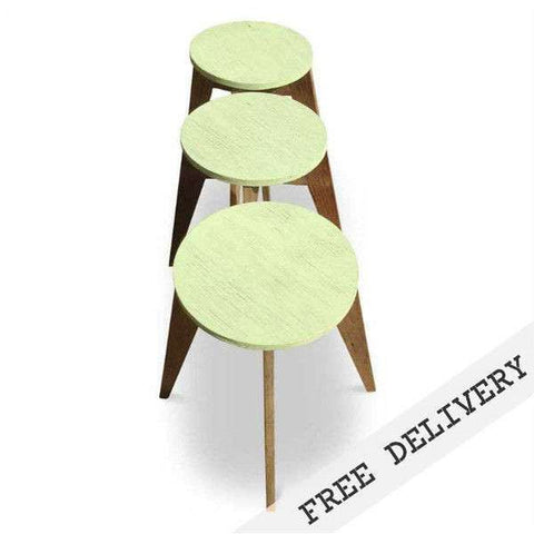 """Once Upon A Queenslander"" Eco Recycled Cafe Style Round Stool - MINT EDITION"