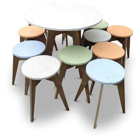 """Once Upon A Queenslander"" Eco Recycled Cafe Style Round Dining Table"