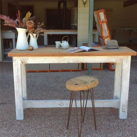 """Once Upon A Queenslander"" Eco Recycled High Bench Table in White & Natural (SUPERSIZED)"