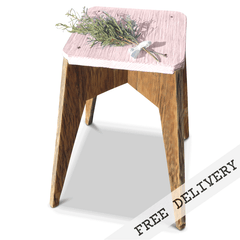 """Once Upon A Queenslander"" Eco Recycled Stool in Blush Pink, Pastel Pink"