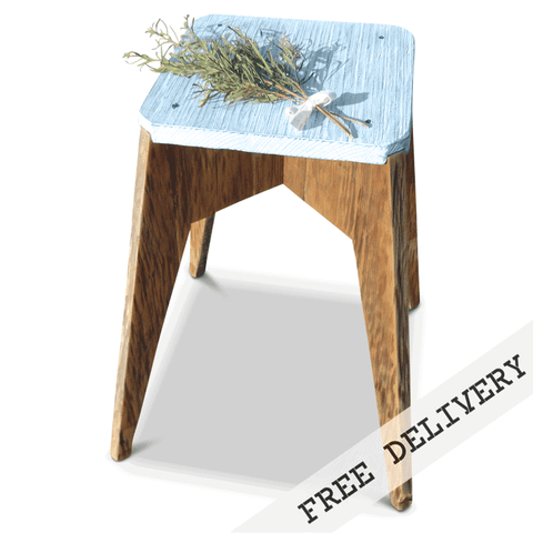 """Once Upon A Queenslander"" Eco Recycled Stool in Powder Blue, Pastel Blue"