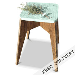 """Once Upon A Queenslander"" Eco Recycled Stool in Teal Green, Pastel Green"