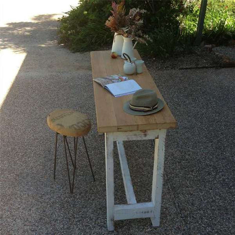 """Once Upon A Queenslander"" Eco Recycled ""Petite"" High Bench Table in Natural & White"