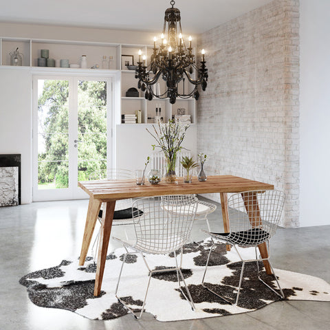 Modern rustic mid century recycled solid timber wood dining table  in natural. Handmade and customisable to any dimension, finish or colour. Free standard delivery to major capital cities in Australia.