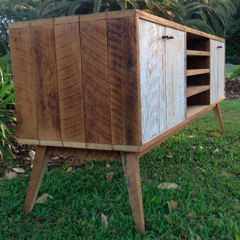 """Once Upon A Queenslander"" Eco Recycled White Entertainment Unit With Shelves"