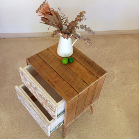 """Once Upon A Queenslander"" Eco Recycled Bedside Table With Push To Open Drawers"