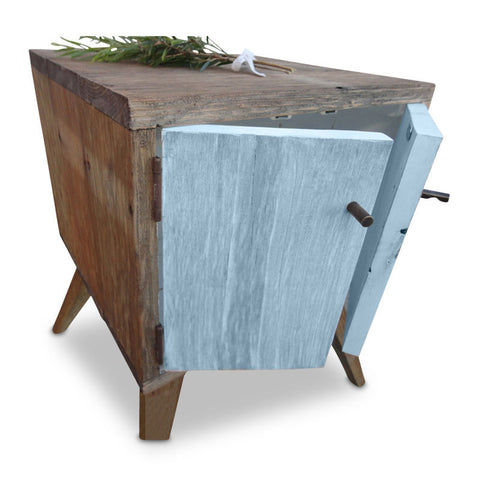 """Once Upon A Queenslander"" Handmade Recycled Solid Timber Retro Vintage Wooden Bedside Table with Door in Powder / Pastel Blue"