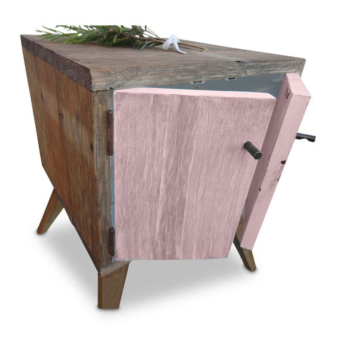 """Once Upon A Queenslander"" Handmade Recycled Solid Timber Retro Vintage Wooden Bedside Table with Door in Blush / Pastel Pink"