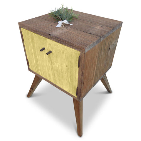 """Once Upon A Queenslander"" Handmade Recycled Solid Timber Retro Vintage Wooden Bedside Table with Door in Meringue / Pastel Yellow"
