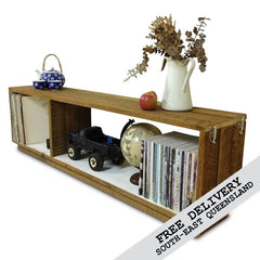 Retro Modern Mid Century Eco Recycled Modular Bookcase / Bench / TV Stand in White
