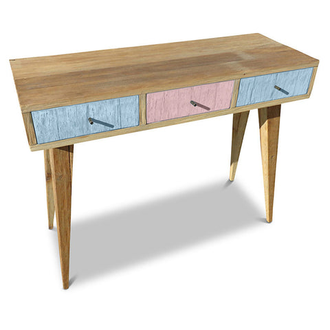 """Once Upon A Queenslander"" Eco Recycled Retro Hall Table / Console / Dressing Table / Desk in Blue & Pink"